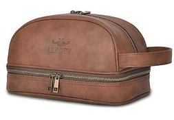 Vetelli Leather Toiletry Bag For Men  with Travel Bottles. a