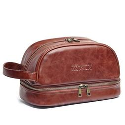 KIPOZI PU Leather Travel Bag,Shaving Dopp Kit bag for Man,To
