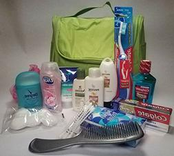 Lime Green Travel Toiletry Bag with Personal Care Essentials