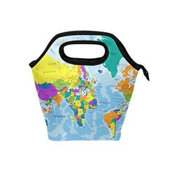 Bettken Lunch Bag Colorful World Map Insulated Reusable Lunc