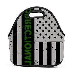 Lunch Bag - Green Line American Flag Lunch Tote Bags for Wom