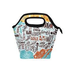 Bettken Lunch Bag USA American Map Initial Insulated Reusabl