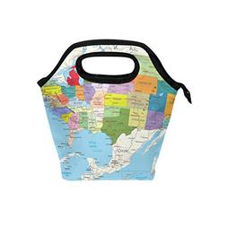 Bettken Lunch Bag USA American Map Insulated Reusable Lunch