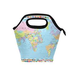 Bettken Lunch Bag World Map Flag Insulated Reusable Lunch Bo