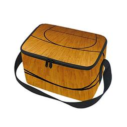 Lunch Tote Basketball-Court Mens Insulated Lunch Bag Zipper