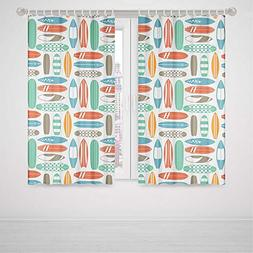 iPrint Marvel Curtains for Bedroom Surfboard Colorful Surfin