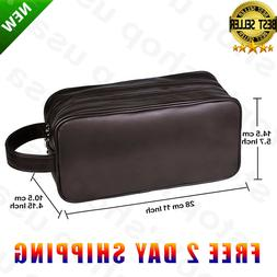 Men Toiletry Travel Bag Shave Kit Leather Organizer Dopp Sha