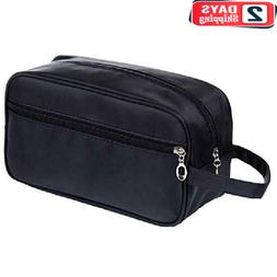 Mens Toiletry Bag Genuine Cowhide Leather Shaving Kit Travel