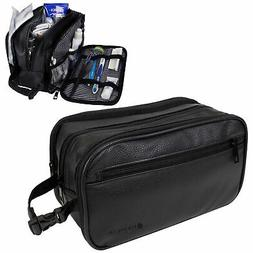 Mens Toiletry Bag with Zipper PU Leather Case Organizer Port