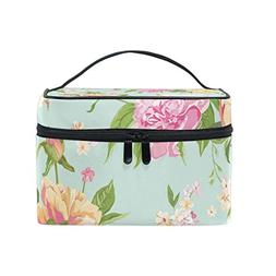 ALAZA Large Multifuncation Roses Light Blue Cosmetic Bag Mak