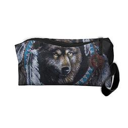 Native American Wolf Portable Storage Pouch Travel Makeup Ba