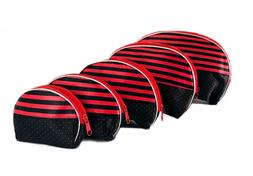 NEW 5 PIECE STRIPED DESIGN PORTABLE TRAVEL COSMETICS AND MAK