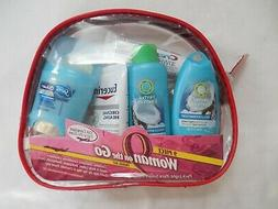 NEW 9 PIECE WOMAN ON THE GO TRAVEL KIT COSMETIC BAG HERBAL E