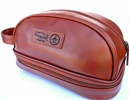 NEW men's PENGUIN brown shaving kit travel toiletry bag new