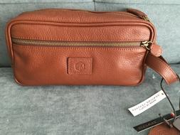 NEW WITH TAG In Pell Leather Travel Kit Toiletry Handbag BRO