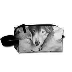 Novel Wolf Love Portable Toiletry Cosmetic Bag Waterproof Ma