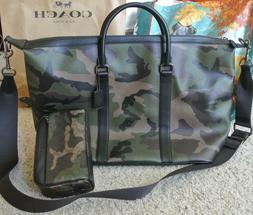 NWT Coach Voyager  Camo Print Calf Leather Duffle and Matchi