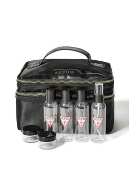 NWT GUESS Women's TRAVEL KIT, Black, Plastic containers ar