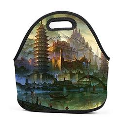Family Dream Art Oriental Reflection Lunch Bag Portable Hand