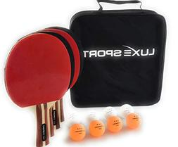 Ping Pong Paddle Set of 4 -Full Table Tennis Bundle includes