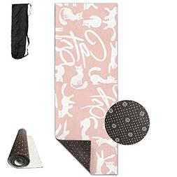 Pink Background White Cats Printing Yoga Mat Towel Beauty No
