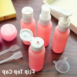 Pink Empty Refillable Silicone Cosmetics Travel Bottles Kit