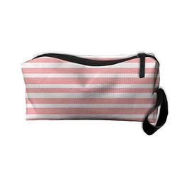 Pink Stripe Makeup Bag Zipper Organizer Case Bag Cosmetic Ba
