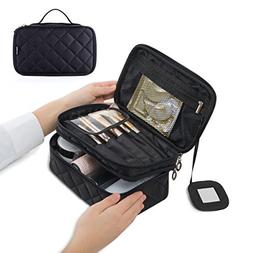 Wuhua Portable Makeup Bag, Double Layer Cosmetic/Toiletry Br