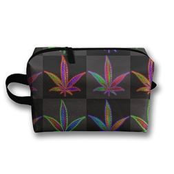 Lisang Portable Travel Toiletry Bag Bright Rainbow Weed Stor