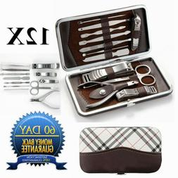 Portable Travel Kit 12 PCS Pedicure / Manicure Set Nail Clip