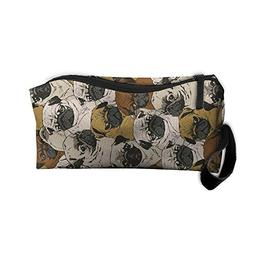 Pug Pattern Makeup Bag Zipper Organizer Case Bag Cosmetic Ba