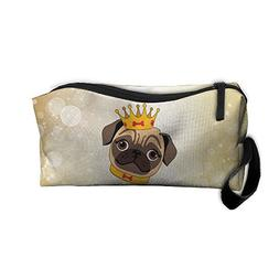 Pug With Crown Makeup Bag Zipper Organizer Case Bag Cosmetic