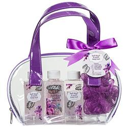 Bath and Body Skincare Spa Gift Set Bag for Women, Basil & K