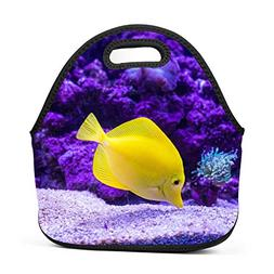 purple coral lunch bag portable