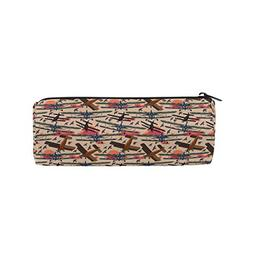 Retro Airplane Sunset Sky Pattern Pencil Pouch Pencil Case P