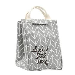 Mziart Reusable Lunch Bag, Foldable Canvas Lunch Tote Travel