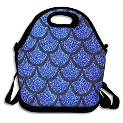 Sea Blue Mermaid Scales Neoprene Lunch Bag Insulated Lunch B
