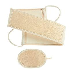 2-Piece Set Loofah Back Scrubber Strap and Exfoliate Pad - B