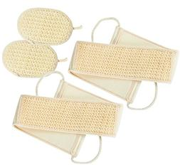4-Piece Set Sisal Back Scrubber Strap and Exfoliate Pad, 2 o