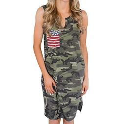 Owill Women Sleeveless American Flag Printed Evening Party D