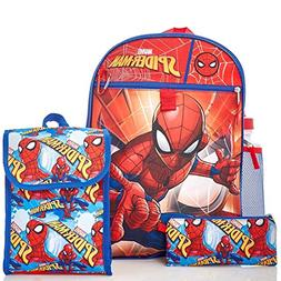 "Marvel Spiderman Kids 5 Piece Backpack Set - 16"" Backpack, I"