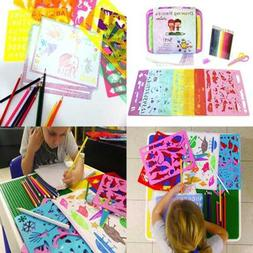 Stencil Set Kit For Kids Fabric Travel Bag W Sketch Pad 300+