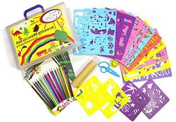 Kids Stencil Set - Drawing stencils with over 250 cute anima