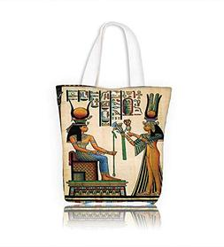 Stylish Canvas Zippered Tote Bag Egyptian Ancient Religion H