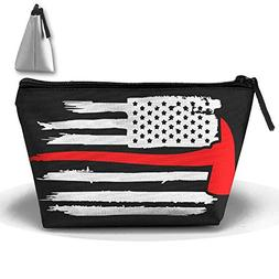 Thin Red Line Firefighter Axe Fire Makeup Bag Travel Cosmeti
