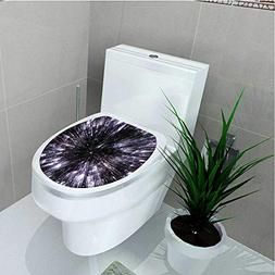 Toilet Seat Wall Stickers Paper of Life Space Travel Themed