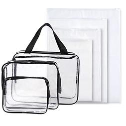 Set of 7 Travel Toiletry Bags - Clear Make-up Bags, 3-Count