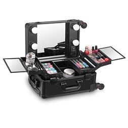 Ovonni Small LED Makeup Train Case, Lighted Rolling Travel P