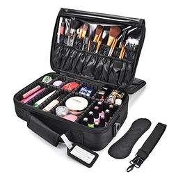 MelodySusie Makeup Train Case 3 Layers Makeup Travel Bag Cos