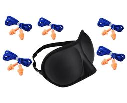 Travel Kit 3D Eye Mask + 5pcs Corded Silicone Earplugs Sleep